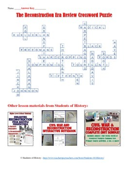 Post-Civil War and Reconstruction Era Crossword Puzzle ...