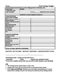 Post College Budget Worksheet Activity