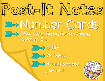 Post-It Note Number Cards 0-100 for Pocket Charts, Centers, Games, Etc.