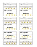 Post It Note Printable Reading Tally Mark and Self Assess Emojis Template
