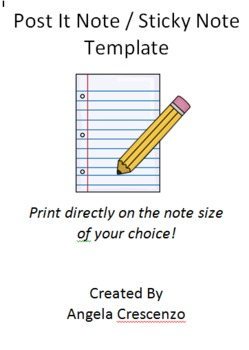 Post It Note Sticky Note Printing Template FREEBIE By Angela - Post it note calendar template