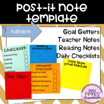 Post It Note Template By Miss Pipines Classroom Tpt