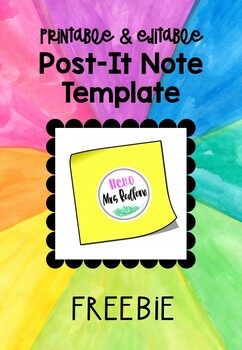 picture regarding Editable Post It Note Template named Editable Posting It Take note Templates Worksheets Coaching