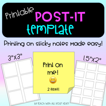 Post-It Note / sticky note Printing Templates!