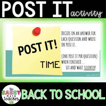 Post - It Notes - First Week of School Activity
