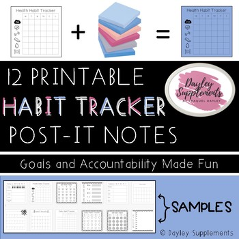 Post-It Notes HABIT TRACKER for planners, calendars, and journals