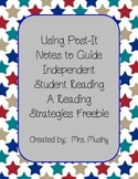 Post It Notes Reading Strategy Freebie