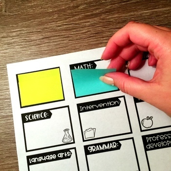 Post-It Notes Template {EDITABLE} To Organize Teacher Planner