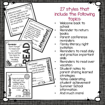 Pre-printed Notes for Reading Teachers (Editable)
