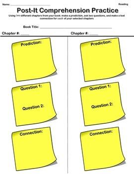 Post - It Reader's Workshop Comprehension Sheet