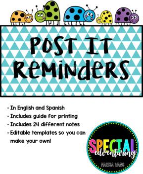 Post It Reminders (Spanish/English)