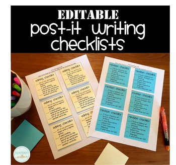 Post-It Writing Checklists (Editable!)