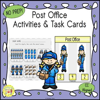 Post Office Count and Clip Task Cards