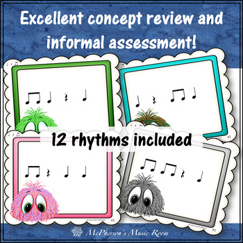 Music Rhythm Game Quarter Note, Quarter Rest and Eighth Notes {Post Office}