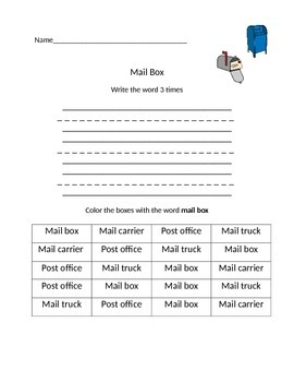 Post Office Word Work