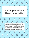 Post-Open House Letter