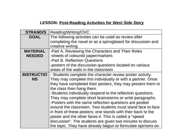 Post-Reading Activities for West Side Story by Irving Shulman