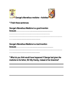 Post Reading activities for George's Marvellous Medicine