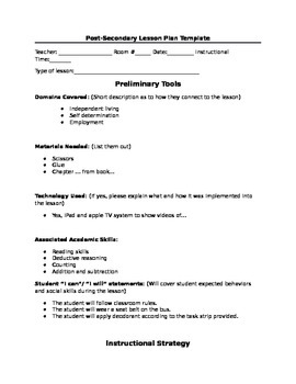 PostSecondary Lesson Plan Template By A Piece To The Puzzle TpT - Secondary lesson plan template