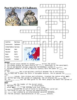 Post WWII Challenges and Cold War Crossword or Web Quest