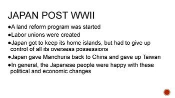 Post-WWII Japan PowerPoint, Guided Notes, and Completed Notes