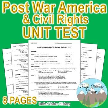 Post War America & Civil Rights Unit Test / Exam / Assessment (U.S. History)