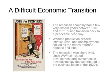 Post World War 1- Society and Economy