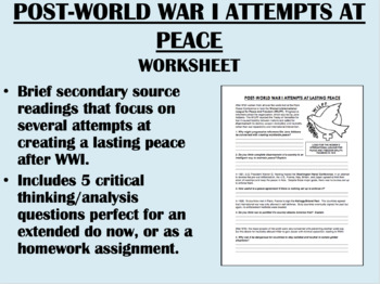Post World War I Attempts At Peace Worksheet Global World Ush