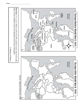 Europe After Ww1 Map Answers.World War I Map Analysis Worksheet By Students Of History Tpt