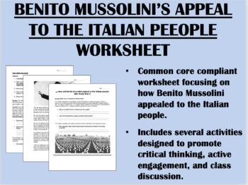 Post World War I Problems & Mussolini worksheet - Global History Common Core