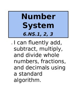 Post Your Common Core Standards and Scales (6th Grade Math)