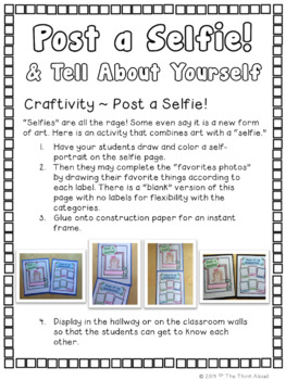 Post a Selfie! and Tell About Yourself ~ Craftivity {Back to School}