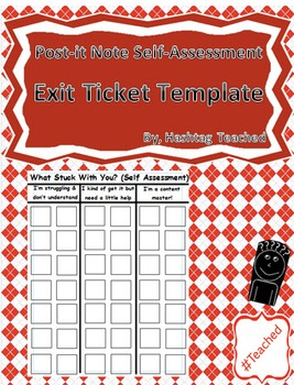 Post it Note Self Assessment Exit Ticket Tracker Poster Template