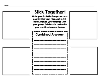 Post-it Note Stick Together Small Group Activity Graphic Organizer