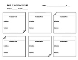 FREE Post it Note Vocabulary Worksheet