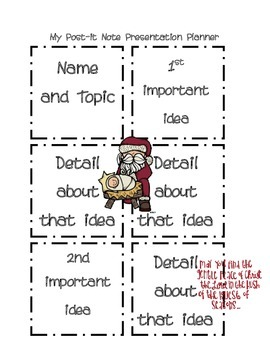 Post it Note Writing/Presentation Planner-Christmas Edition