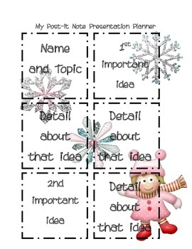 Post it Note Writing/Presentation Planner-Girly Winter Edition