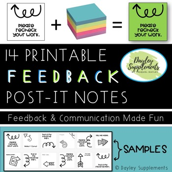 Post it Notes ARROW FEEDBACK for Communication & Instruction - All Grades