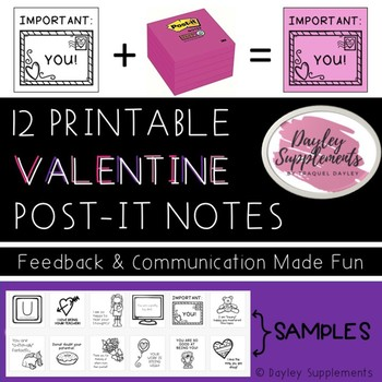 Post it Notes VALENTINE  - Printable Fun for Communication & Feedback