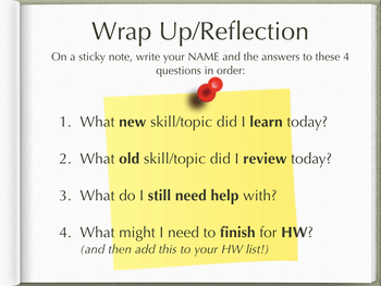 Post-it Reflection/Wrap Up Poster