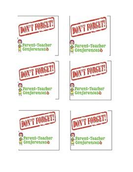 """Post it note printable """"Don't forget parent teacher conferences"""""""
