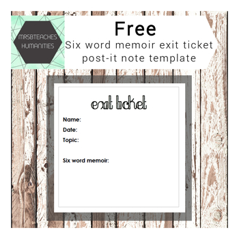 PostIt Note Printables  Six Word Memoir Exit Ticket Template  Tpt