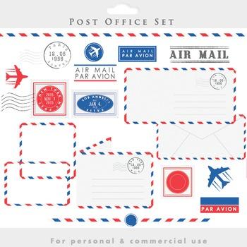 Post office clipart - stamps mail clip art postal postage vintage letters