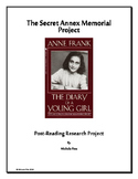 Post-reading research project for Diary of a Young Girl by Anne Frank