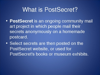 PostSecret Lesson Plan PowerPoint
