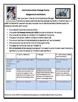 Postage Stamp Assignment and Rubric
