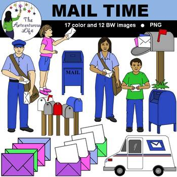 Postal Service and Mail Time Clip Art