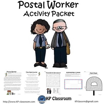 Postal Worker No Prep Activity Packet and Worksheets