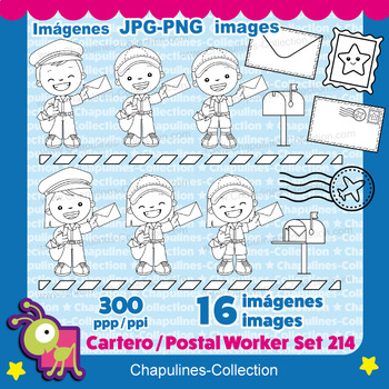 Postal worker clipart, Black & white, Mailman, Mailwoman, Mail carrier, Set 214