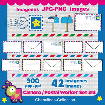 Postal worker clipart, Mailman, Mailwoman, Mail carrier, Mail Set 213